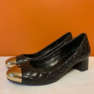 Shoes - TORY BURCH quilting pumps leather metal black 6.5